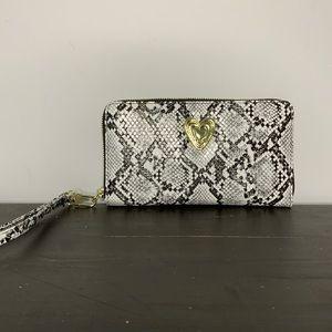 Betsey Johnson snakeskin wallet wristlet